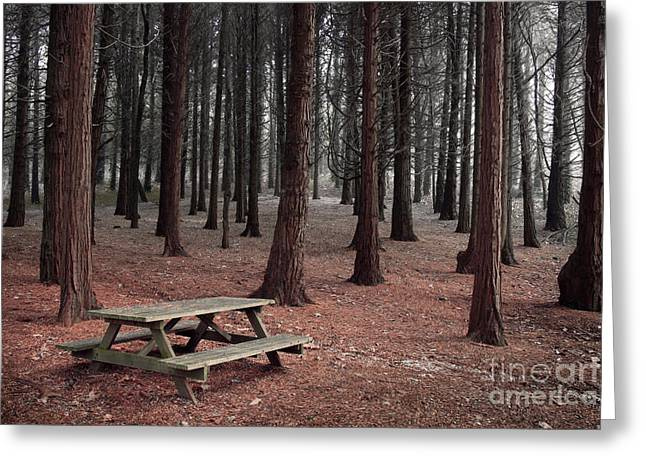 Forest Table Greeting Card by Carlos Caetano