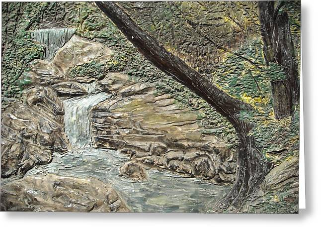 Ceramic Reliefs Greeting Cards - Forest Waterfall Greeting Card by Doris Lindsey