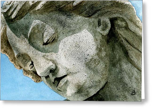 Statue Portrait Paintings Greeting Cards - Forever Yours Greeting Card by Brenda Owen
