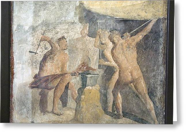 Forging Greeting Cards - Forge Of Hephaistos, Roman Fresco Greeting Card by Sheila Terry