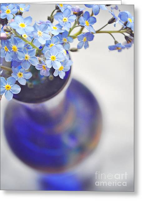 Interior Still Life Digital Art Greeting Cards - Forget me nots in deep blue vase Greeting Card by Lyn Randle