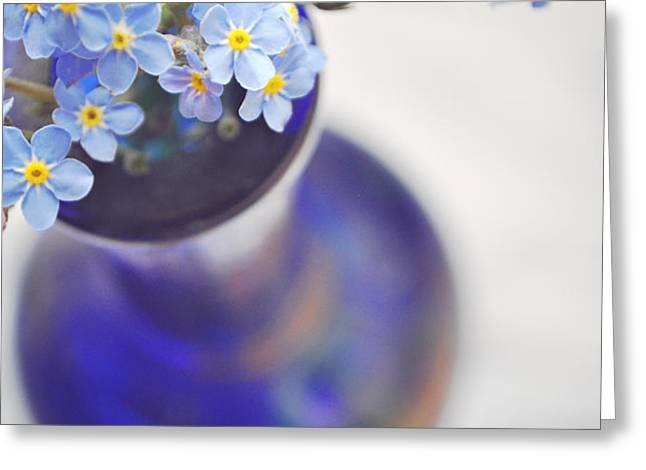 Forget me nots in deep blue vase Greeting Card by Lyn Randle