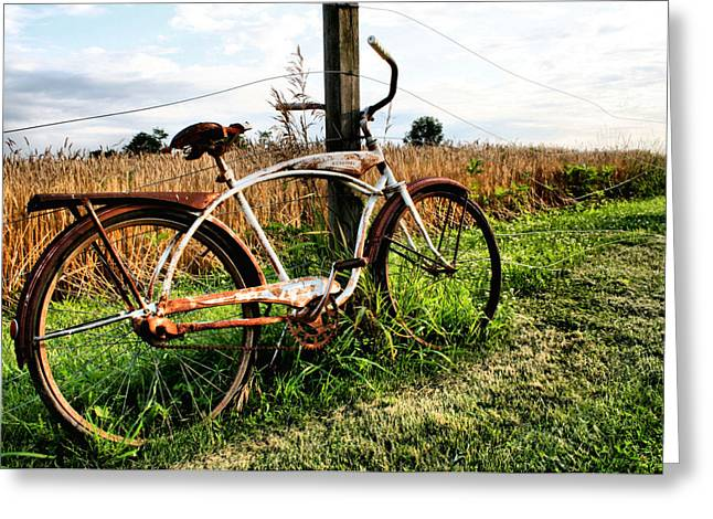 Field. Cloud Greeting Cards - Forgotten Bicycle Greeting Card by Doug Hockman Photography