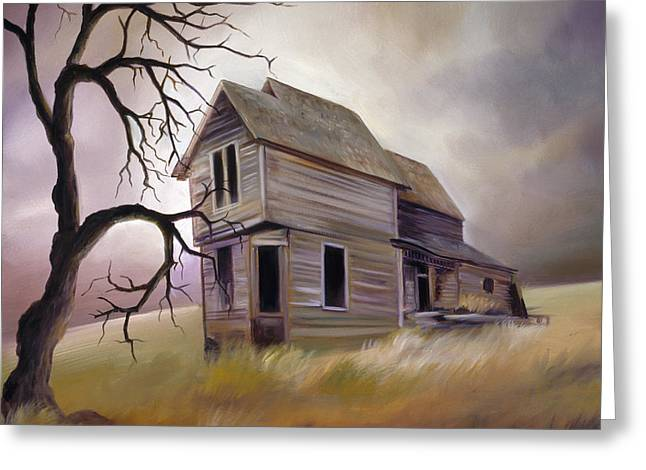 Haunted House Paintings Greeting Cards - Forgotten but not Gone Greeting Card by James Christopher Hill