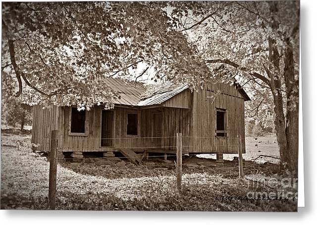Photohraphy Greeting Cards - Forgotten Homestead in sepia Greeting Card by Laurinda Bowling