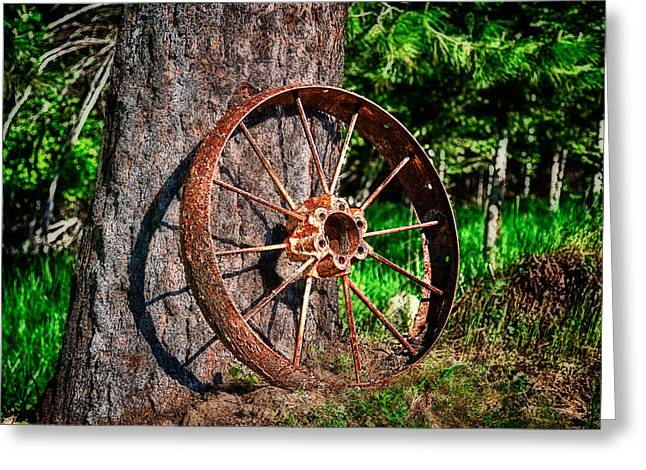 Farm Photographs Greeting Cards - Forgotten Wheel Greeting Card by Niels Nielsen