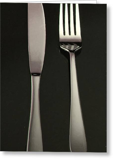 Stainless Steel Digital Art Greeting Cards - Fork and Knife - Painterly Greeting Card by Wingsdomain Art and Photography