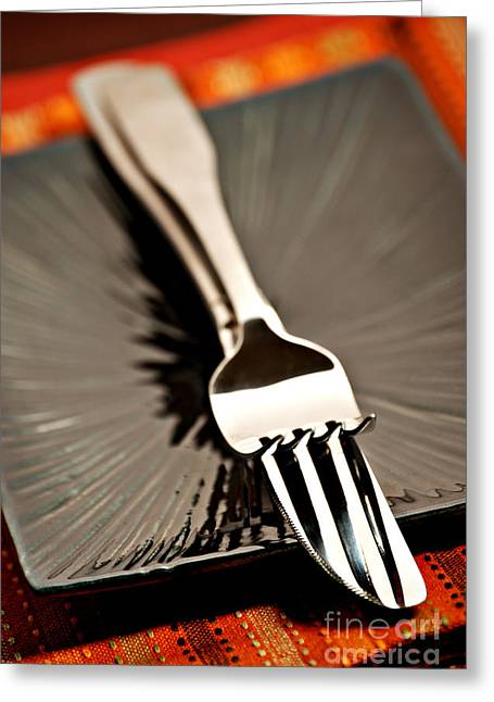 Forks Greeting Cards - Fork And Knife Greeting Card by HD Connelly