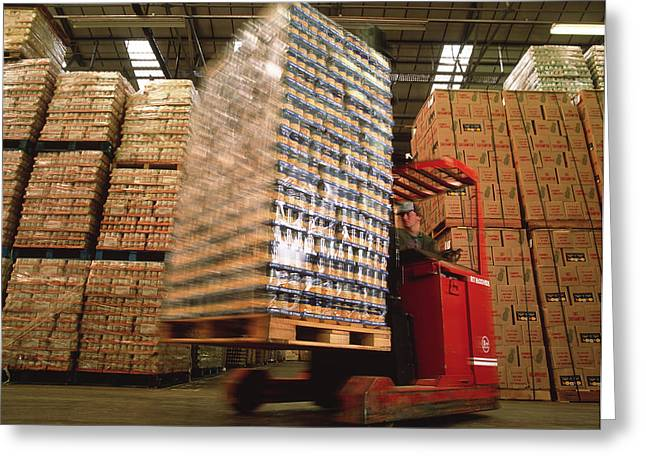 Production Industry Greeting Cards - Fork-lift Truck In Warehouse Greeting Card by David Parker
