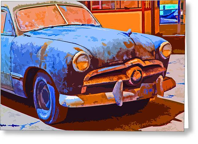 Sam Sheats Greeting Cards - Forlorn 1949 Ford  Front Study Greeting Card by Samuel Sheats