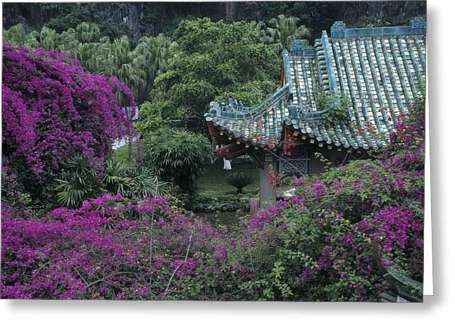 """roof Tile"" Greeting Cards - Formal Gardens Around Tile Roofed Greeting Card by Raymond Gehman"