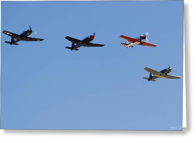Aerobatic Greeting Cards - Formation Greeting Card by Heidi Smith