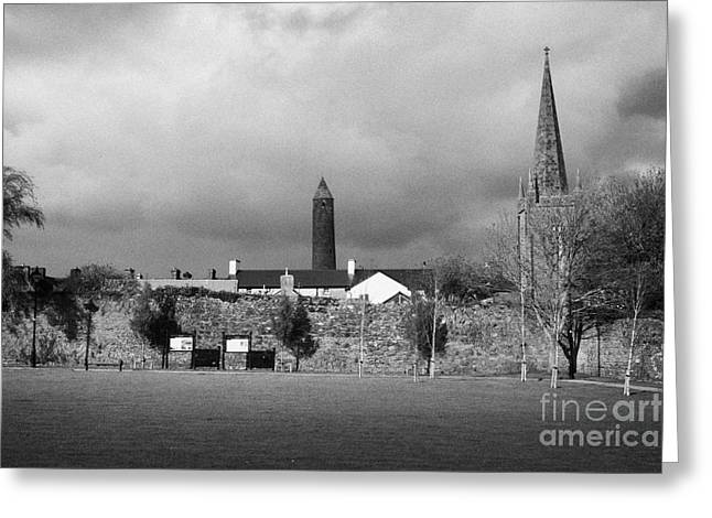 Former Castle And Bishops Palace And Workhouse Site With Cathedral And Round Tower Killala Greeting Card by Joe Fox