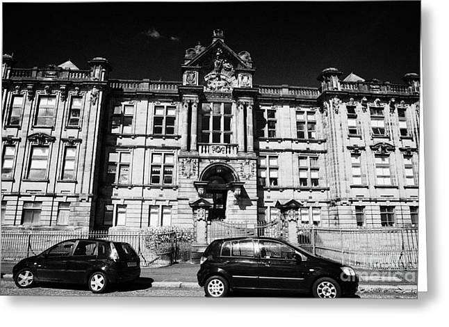 Technical Photographs Greeting Cards - Former Kilmarnock Technical School And Academy Building Now Academy Apartments Scotland Uk Greeting Card by Joe Fox