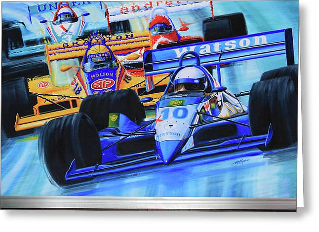 Ontario Sports Art Greeting Cards - Formula1 Wall Mural Greeting Card by Hanne Lore Koehler