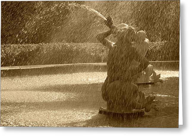 Forsyth Fountain Detail In Sepia Greeting Card by Suzanne Gaff