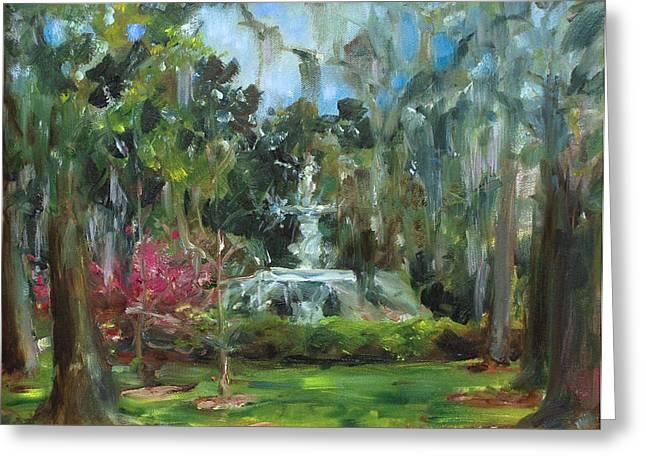 Savannah Parks Gardens Greeting Cards - Forsyth Park Savannah Greeting Card by Ann Bailey