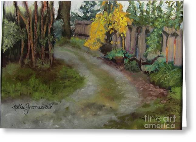 Fence Pastels Greeting Cards - Forsythia by the Fence Greeting Card by Katie Gronsbell