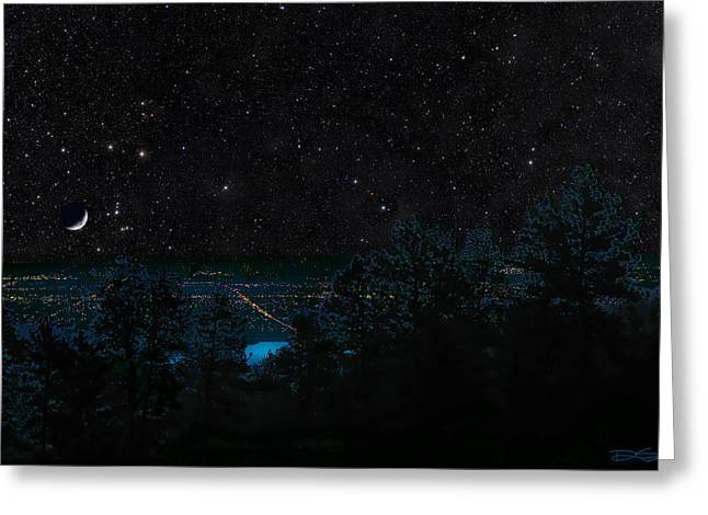 Fort Collins Colorado at Night Greeting Card by Ric Soulen