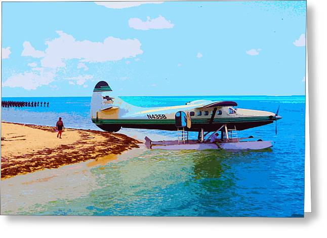Dry Tortugas Greeting Cards - Fort Jefferson Sea Plane Greeting Card by Andy Jeter