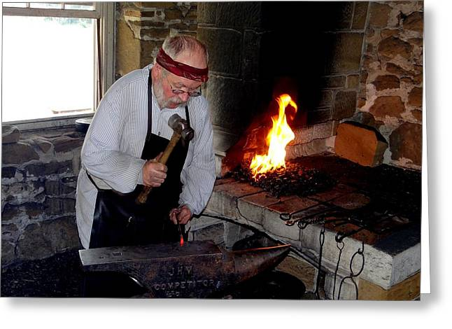 Larned Greeting Cards - Fort Larned Blacksmith Greeting Card by Keith Stokes