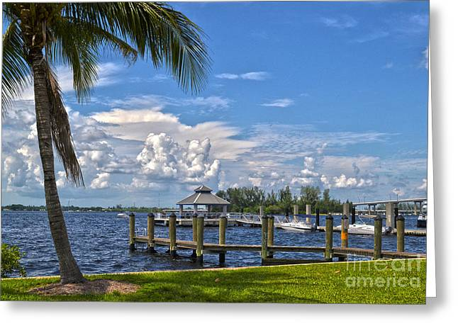 Fort Myers Dock Greeting Card by Timothy Lowry