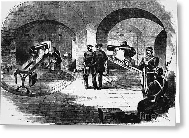 Civil War Time Greeting Cards - Fort Pickens Engraving Greeting Card by Omikron