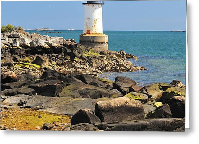 Fort Pickering Lighthouse Greeting Card by Catherine Reusch  Daley