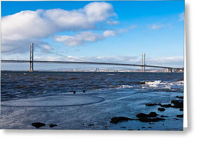 Mid Span Greeting Cards - Forth Road bridge Greeting Card by Gary Finnigan