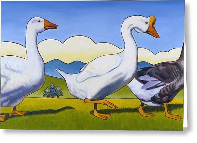 Goose Greeting Cards - Forward March Greeting Card by Stacey Neumiller