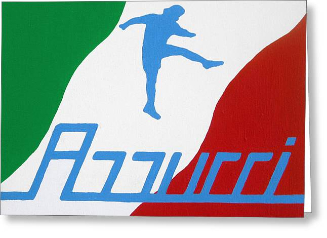 Gesso Greeting Cards - Forza Azzurri Greeting Card by Oliver Johnston
