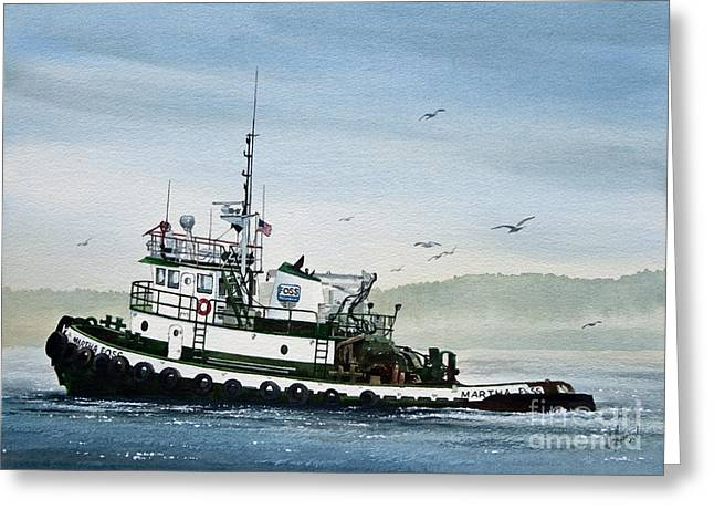 Tug Greeting Cards - FOSS Tugboat MARTHA FOSS Greeting Card by James Williamson