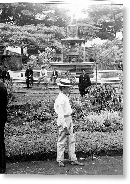 Costa Greeting Cards - Fountain and Plaza in Heredia - Costa Rica - c 1902 Greeting Card by International  Images