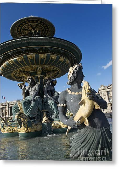 Antique Sculpture Greeting Cards - Fountain at Place de la Concorde. Paris. France Greeting Card by Bernard Jaubert