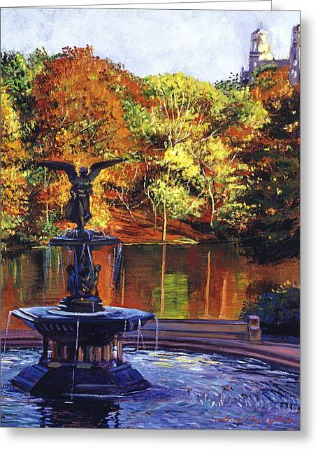 Central Greeting Cards - Fountain Central Park Greeting Card by David Lloyd Glover