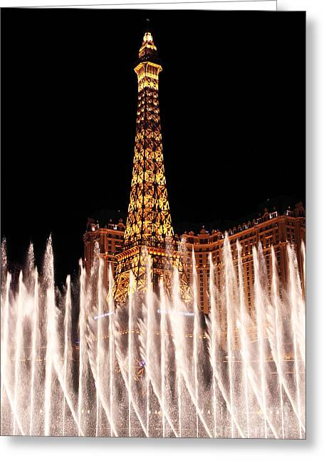 Bellagio Fountains Greeting Cards - Fountain Dance  Greeting Card by John Rizzuto