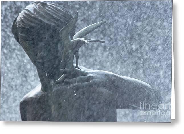 Birdman Greeting Cards - Fountain of Faith Birdman Greeting Card by Susan Isakson