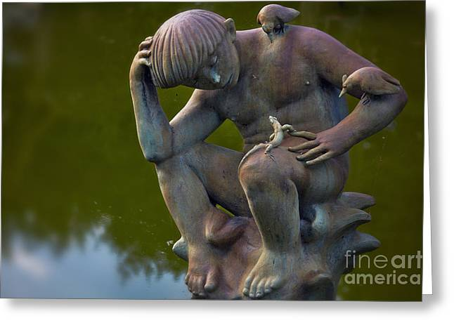 Eternal Life Greeting Cards - Fountain of Faith Nature Boy Greeting Card by Susan Isakson