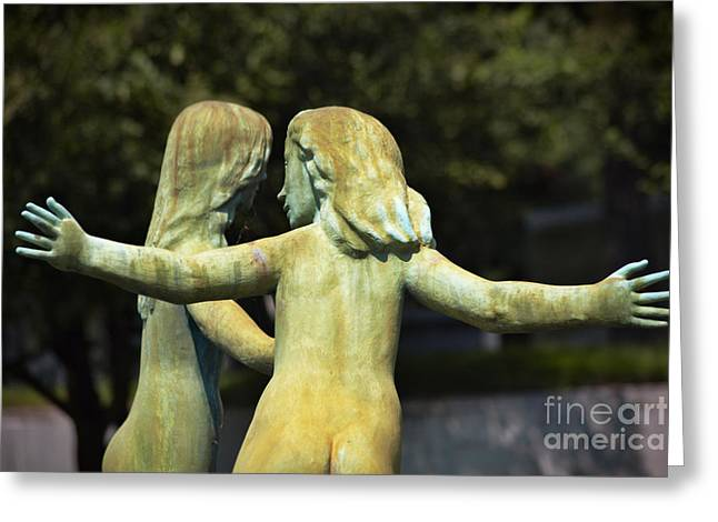 Eternal Life Greeting Cards - Fountain of Faith Two Girls Greeting Card by Susan Isakson