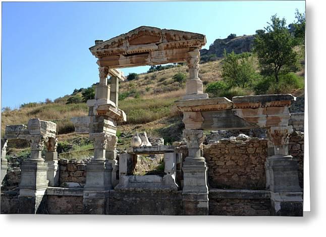 Ephesus Greeting Cards - Fountain of Trajan. Greeting Card by Terence Davis
