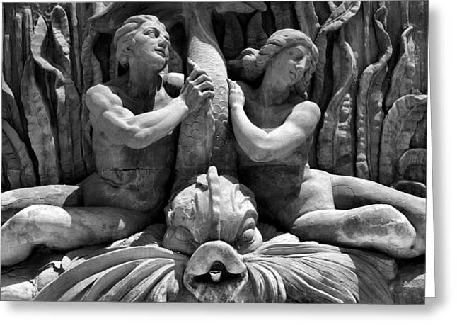 Metal Fish Art Photography Greeting Cards - Fountain Statuary Greeting Card by Steven Ainsworth