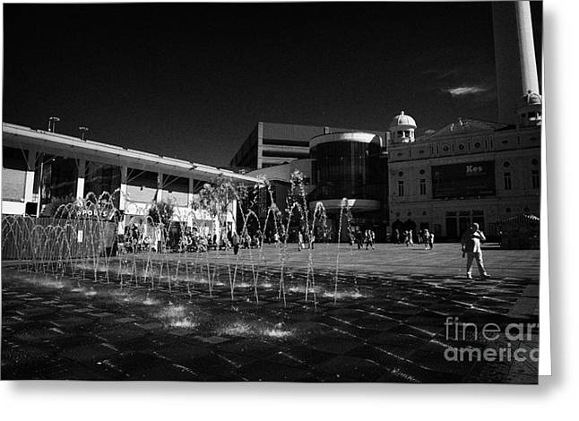Water Display Greeting Cards - Fountain Water Display In Williamson Square With The Playhouse In The Background In Liverpool City Greeting Card by Joe Fox
