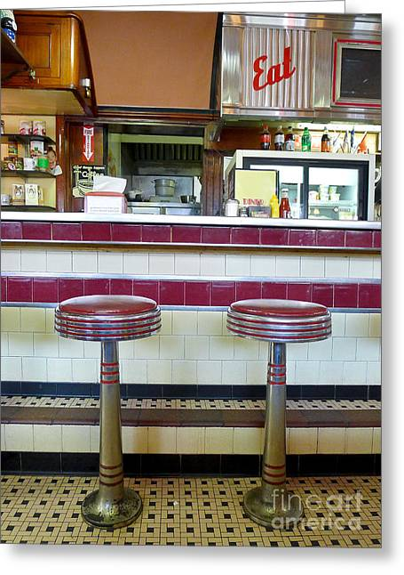 Counter Greeting Cards - Four Aces Diner Greeting Card by Edward Fielding
