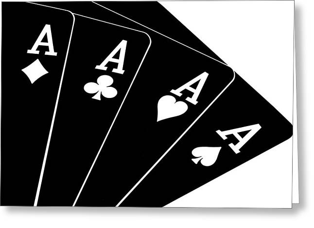 Card Games Greeting Cards - Four Aces II Greeting Card by Tom Mc Nemar