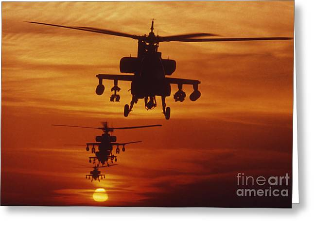 Rotary Wing Aircraft Photographs Greeting Cards - Four Ah-64 Apache Anti-armor Greeting Card by Stocktrek Images