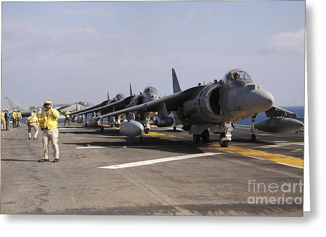 Uss Essex Greeting Cards - Four Av-8b Harrier Jets Line Greeting Card by Stocktrek Images