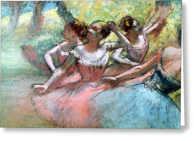 Tutu Pastels Greeting Cards - Four ballerinas on the stage Greeting Card by Edgar Degas