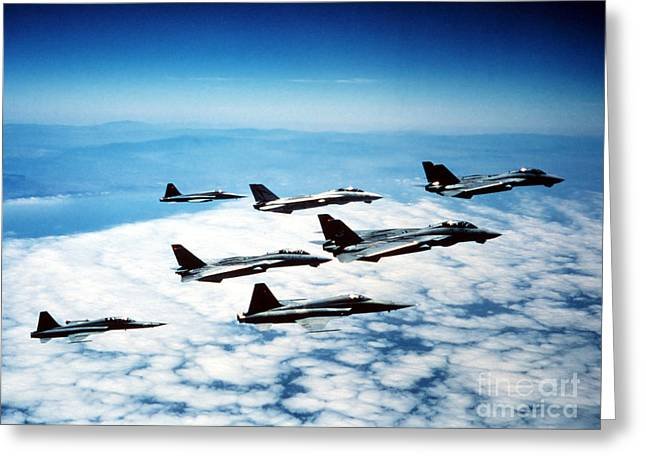 Cooperation Greeting Cards - Four F-14 Tomcats And Three F-5 Tiger Greeting Card by Dave Baranek