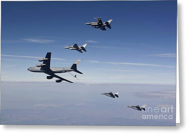 Four F-16s And A Kc-135 Fly Greeting Card by HIGH-G Productions