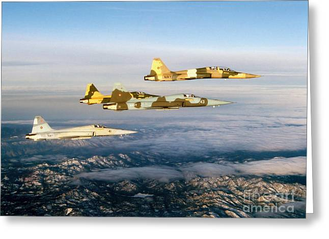 Cooperation Greeting Cards - Four F-5 Tiger Iis Fly Above Southern Greeting Card by Dave Baranek